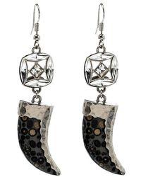 Roberto Cavalli Marble Tooth Crystal Silver Tone Hook Earrings - Metallic