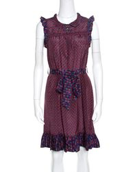 Marc By Marc Jacobs Multicolor Printed Silk Ruffled Trim Belted Dress Xs - Purple