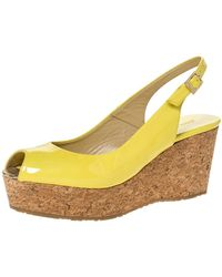 Jimmy Choo Yellow Patent Leather Praise Slingback Wedge Sandals