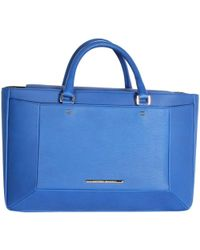 Roland Mouret Electric Blue Leather Tote Bag