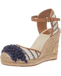 Tory Burch White/blue Canvas And Leather Espadrille Wedge Platform Ankle Strap Sandals