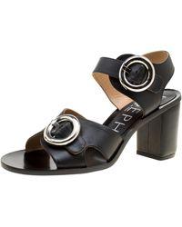 JOSEPH Black Leather Buckle Detail Block Heel Sandals