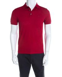 0722519f4 Louis Vuitton - Red Cotton Honeycomb Knit Short Sleeve Polo T-shirt S - Lyst