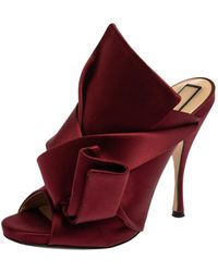 N°21 Burgundy Satin Knot Open Toe Sandals - Red