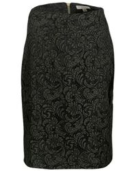 Burberry London Olive Green Floral Lace Pencil Skirt
