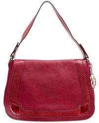 Cartier Maroon Leather And Snakeskin Shoulder Bag - Red