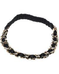 Chanel Black Fabric Gold Tone Chain Link Headband