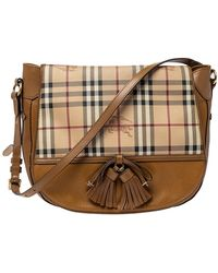 Burberry Beige/tan Haymarket Check Coated Canvas And Leather Flap Hobo - Natural
