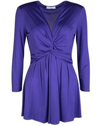Emilio Pucci Blue Silk Jersey Twist Knot Front Long Sleeve Tunic
