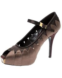 Louis Vuitton Brown Embroidered Satin Mary Jane Peep Toe Platform Pumps Size 37.5