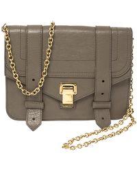 Proenza Schouler Dark Beige Leather Ps1 Wallet On Chain - Natural