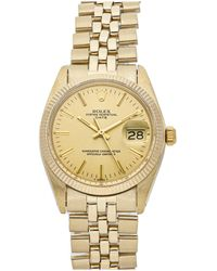Rolex Champagne 18k Yellow Gold Oyster Perpetual Date 1503 Wristwatch 34 Mm - Metallic