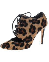 f68b35f9c485 Carolina Herrera - Leopard Print Calf Hair Cut Out Lace Up Booties Size 36  - Lyst