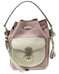 42acea903c Ralph Lauren - Blush Pink off White Leather Ricky Drawstring Bucket Bag -  Lyst