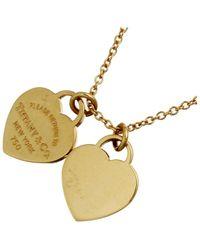 Tiffany & Co. Return To Mini Double Heart Tag 18k Yellow Gold Pendant Necklace - Metallic