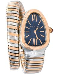 BVLGARI Blue 18k Rose Gold And Stainless Steel Serpenti Tubogas Wristwatch 35 Mm