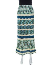 Missoni M Multicolour Chevron Pattern Crochet Knit Maxi Skirt