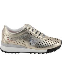 Moschino - Love Metallic Beige Faux Heart Perforated Faux Leather Platform Lace Up Sneakers Size 37 - Lyst