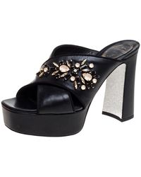 Rene Caovilla - Black Leather Crystal Embellished Cross Strap Peep Toe Platform Mules - Lyst
