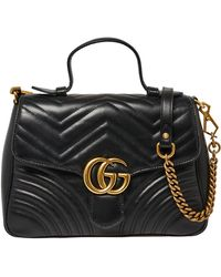 Gucci Black Matelasse Leather Small GG Marmont Top Handle Bag