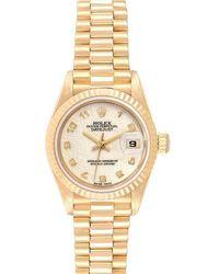 Rolex Ivory 18k Yellow Gold President Datejust 69178 Wristwatch 26mm - White