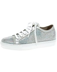 Le Silla Grey Crystal Embellished Suede Lace Up Sneakers