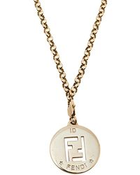 Fendi Gold Tone Identification Pendant Necklace - Metallic