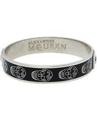 Alexander McQueen Black Enamel Skull Bangle Bracelet