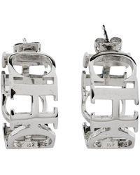 CH by Carolina Herrera Logo Silver Tone Hoop Earrings - Metallic