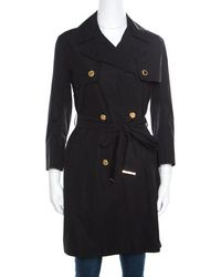 Louis Vuitton Cotton Detachable Sleeve Detail Belted Trench Coat Dress S - Black