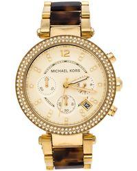 Michael Kors - Yellow Gold Plated Stainless Steel Tortoise Parker Mk5688 Women's Wristwatch 39 Mm - Lyst