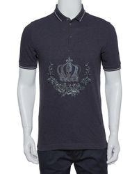 Dolce & Gabbana Gray Cotton Pique Embroidered Crown Polo T-shirt