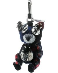 Burberry Dave The Fox Navy Blue Cashmere Embellished Key Ring / Bag Charm