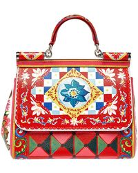 Dolce & Gabbana Multicolour Mambo Print Leather Medium Miss Sicily Top Handle Bag - Red