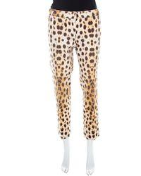 Roberto Cavalli Beige Leopard Print Cotton Tapered Ankle Grazer Pants - Natural