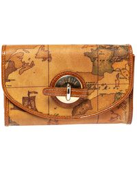 Alviero Martini 1A Classe - Tan Geo Map Coated Canvas Flap Compact Wallet - Lyst
