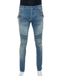 Balmain Blue Stonewashed Denim Skinny Biker Jeans