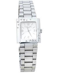 Dior Silver Stainless Steel Diamond Riva D98-1014 Wristwatch - Metallic