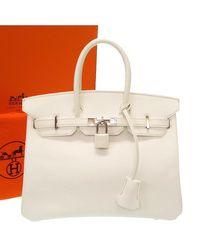Hermès White Epsom Leather Birkin 25 Bag