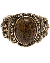 Roberto Cavalli Aged Gold Tone Etched Cabochon Open Cuff Bracelet - Metallic