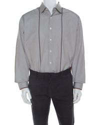 Ferragamo Brown Pin Striped Cotton Derby Fit Shirt Xxl