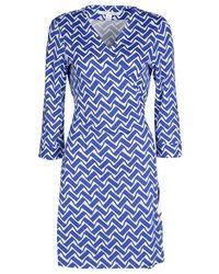Diane von Furstenberg Blue And White Printed New Julian Two Wrap Dress L