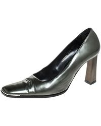 Baldinini Green Leather Slanted Toe Block Heel Court Shoes