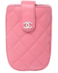 Chanel Pink Quilted Leather Cc Phone Case