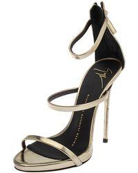 Giuseppe Zanotti Gold Foil Leather Harmony Strap Sandals - Metallic