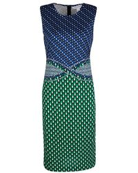 Diane von Furstenberg Green And Blue Dot Printed Silk Jersey Evita Shift Dress - Multicolor