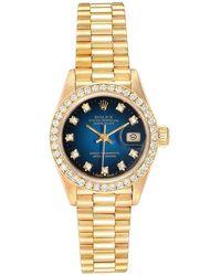 Rolex - Blue Diamonds 18k Yellow Gold Oyester Perpetual 69158 Women's Wristwatch 26 Mm - Lyst