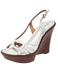 Sergio Rossi White Leather Slingback Wedge Sandals Size 37