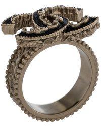 Chanel Pale Gold Tone Black Enamel Baroque Cc Ring - Metallic