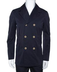 Loro Piana Midnight Blue Cotton Double Breasted Coat